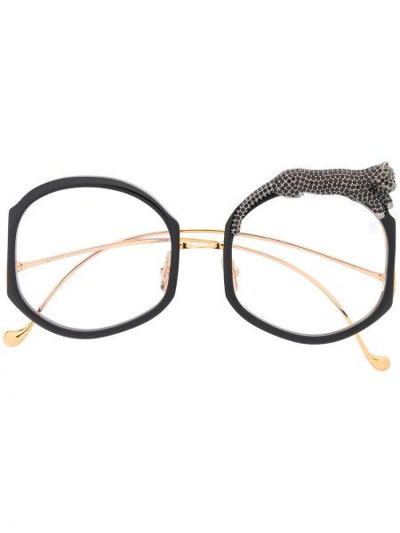 Прямые черные солнцезащитные очки круглые металлические Anna Karin Karlsson
