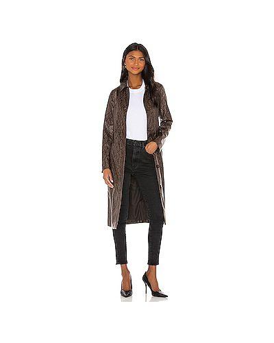 Кашемировое коричневое кожаное пальто с карманами с завязками Cupcakes And Cashmere