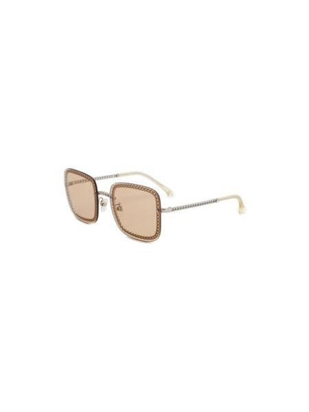 Тонкие бежевые солнцезащитные очки квадратные металлические Chanel