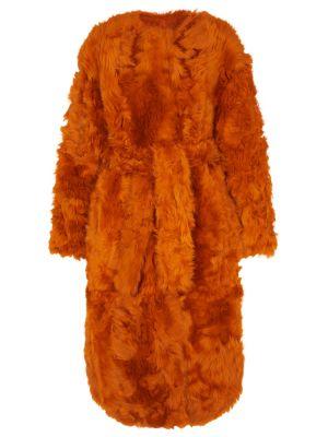 Оранжевое мягкое пальто Yves Salomon