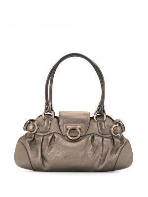 Кожаная коричневая сумка-тоут с пряжкой на молнии Salvatore Ferragamo Pre-owned