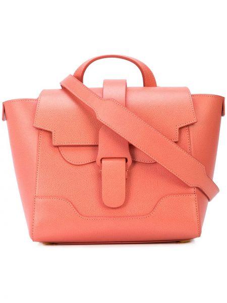 Różowy plecak skórzany Senreve