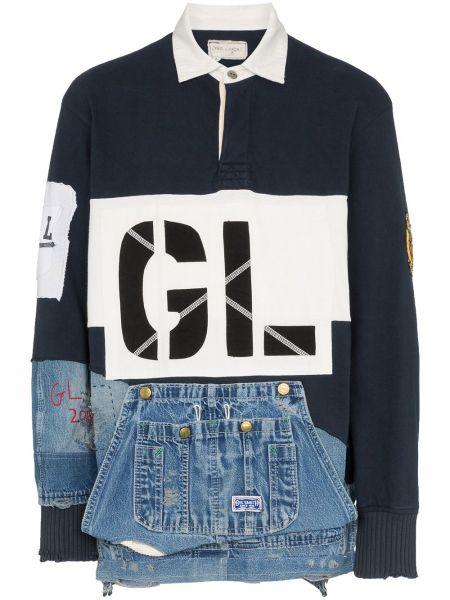 Niebieska koszula jeansowa bawełniana z haftem Greg Lauren
