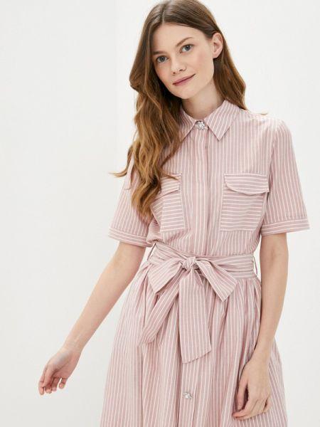 Розовая рубашка с коротким рукавом с лебяжьим пухом Lusio