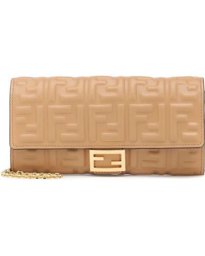 Beżowy portfel skórzany z prawdziwej skóry wytłoczony Fendi
