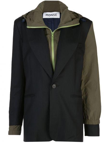 С рукавами черная куртка с капюшоном Monse