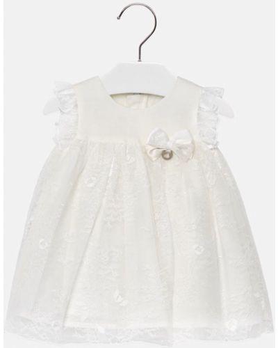 Платье с рукавами белое расклешенное Mayoral