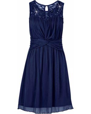 Платье мини коктейльное с поясом Bonprix