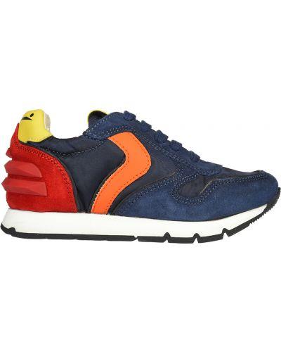 Синие кожаные кроссовки Voile Blanche
