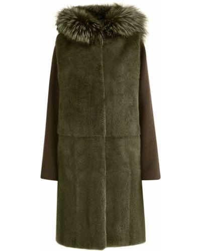 Шерстяное пальто - зеленое Yves Salomon
