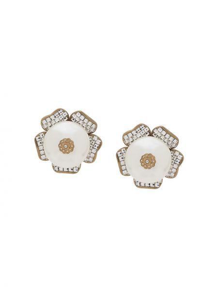 Серьги с жемчугом с зажимом белые Dolce & Gabbana