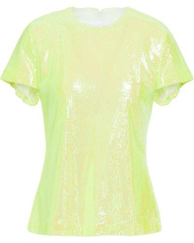 Żółty top z cekinami tiulowy Mm6 Maison Margiela