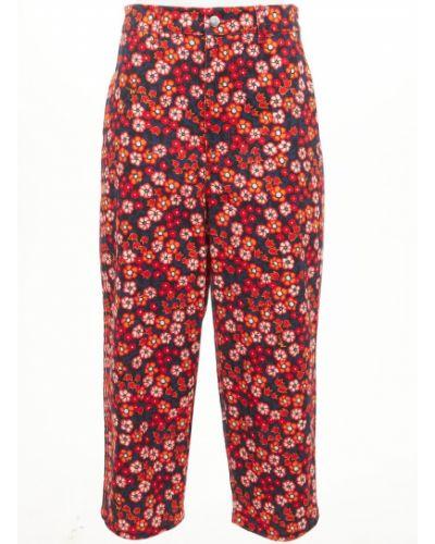 Spodnie bawełniane z printem w kwiaty Marni