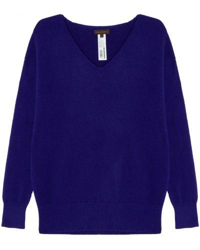 Синий с рукавами пуловер свободного кроя Adolfo Dominguez