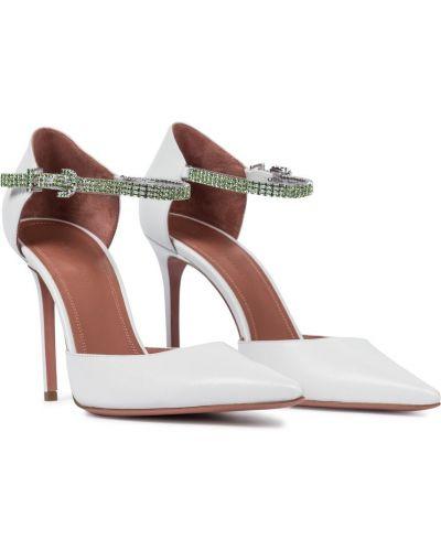 Кожаные белые туфли-лодочки Amina Muaddi