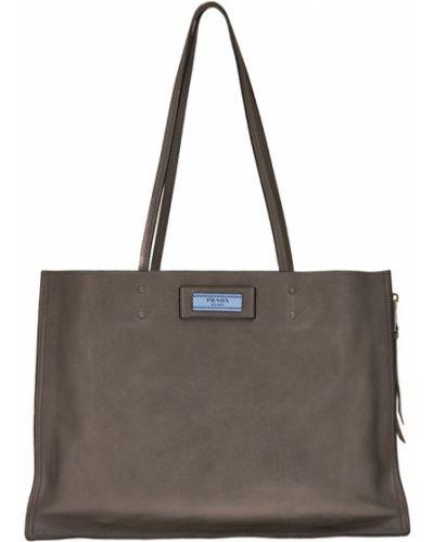 Кожаный сумка большая с ручками Prada