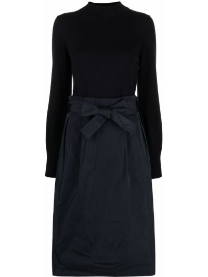 Шелковое синее платье миди с воротником Peserico