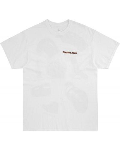 Biały t-shirt bawełniany z printem Travis Scott Astroworld