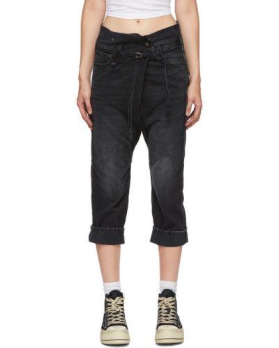 Черные укороченные джинсы с манжетами стрейч с заплатками R13