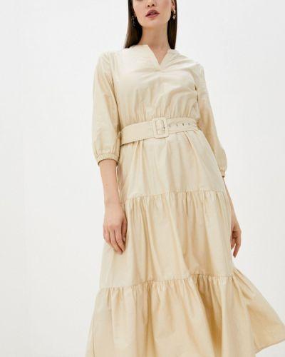 Прямое бежевое платье А-силуэта Zarina