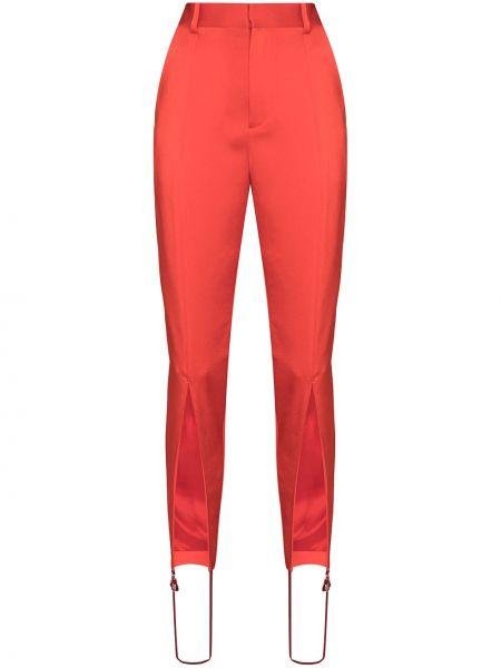 Красные с завышенной талией брюки дудочки с поясом Y Project