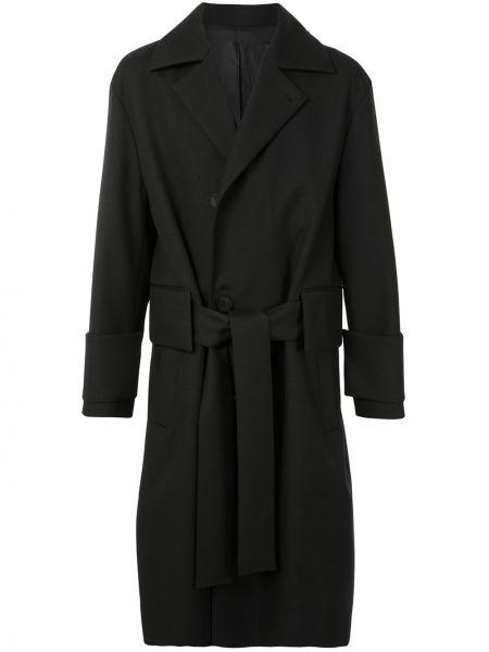 Однобортное черное шерстяное пальто классическое с поясом Wooyoungmi