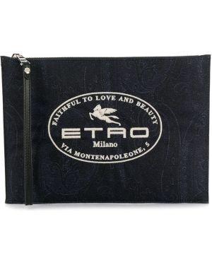Серебряный клатч с вышивкой Etro