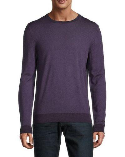 Сиреневый шерстяной длинный свитер с длинными рукавами Boss Hugo Boss