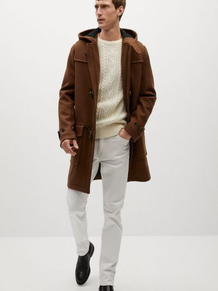 Прямое шерстяное пальто с капюшоном Mango Man