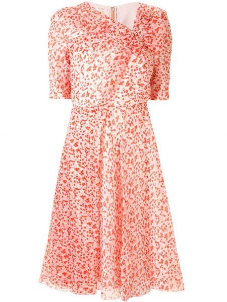 Расклешенное шелковое розовое платье с короткими рукавами Delpozo