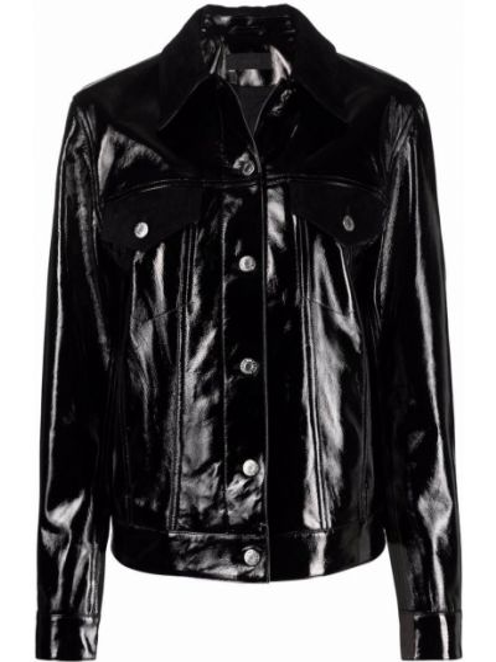 Кожаная куртка на пуговицах - черная Helmut Lang