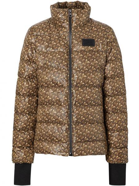 Коричневая стеганая куртка на молнии с манжетами из габардина Burberry
