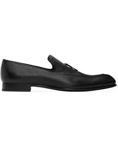 Czarny loafers z prawdziwej skóry Brioni