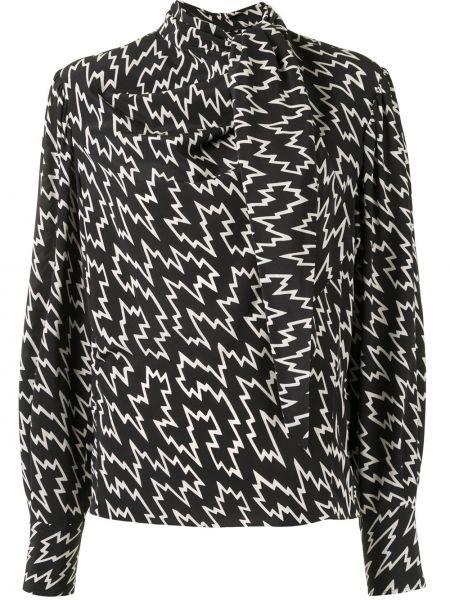Jedwab czarny bluzka z długim rękawem zapinane na guziki z mankietami Isabel Marant