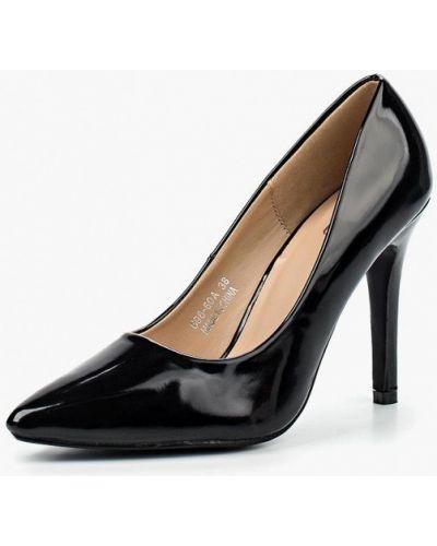 Туфли на каблуке черные кожаные Max Shoes