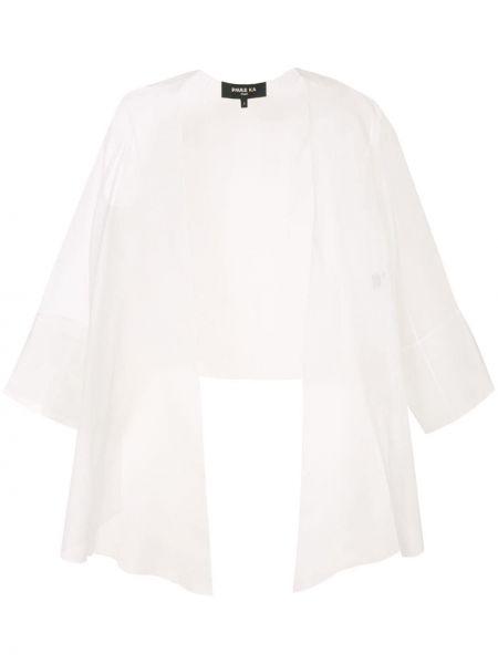 С рукавами шелковый белый пиджак со вставками Paule Ka