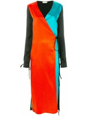 Czarna sukienka długa kopertowa z długimi rękawami Attico