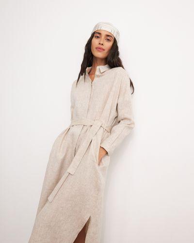 Повседневное бежевое платье-рубашка с поясом 12storeez