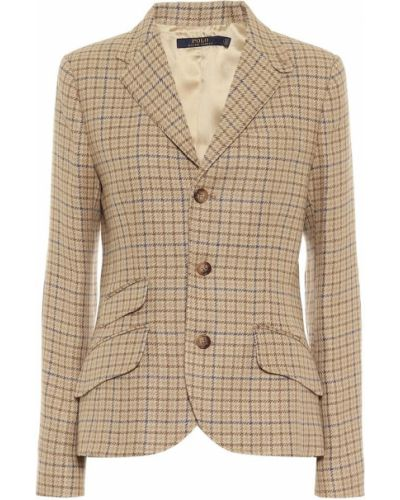 Ватный коричневый пиджак твидовый Polo Ralph Lauren