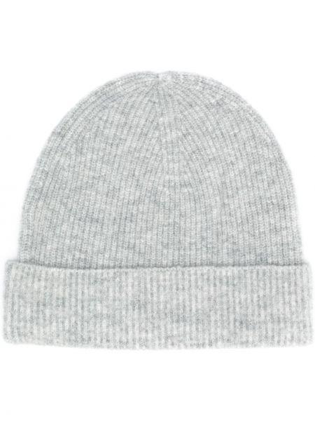Серая кашемировая шапка бини в рубчик без застежки Allude