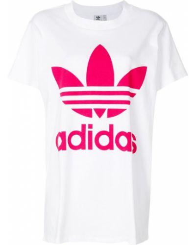 Свободная футболка с логотипом прямая в рубчик Adidas
