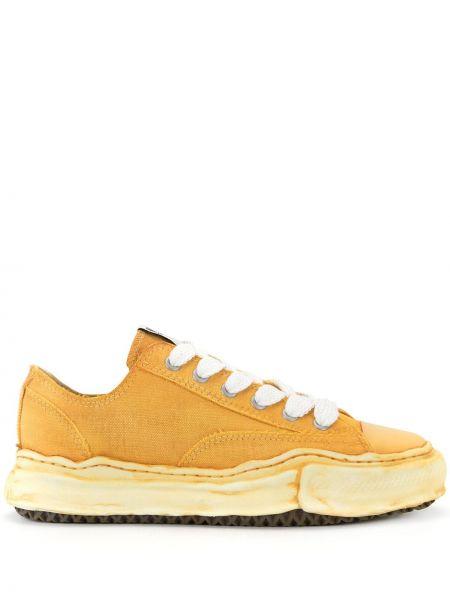 Нейлоновые желтые кеды с заплатками на шнуровке Maison Mihara Yasuhiro