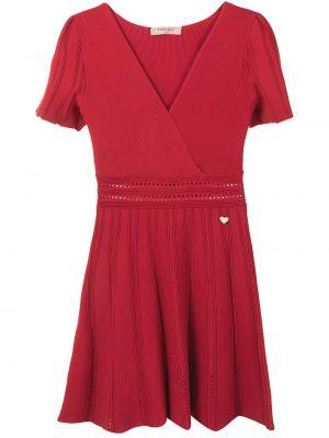 С рукавами красное платье мини с вырезом Twin-set