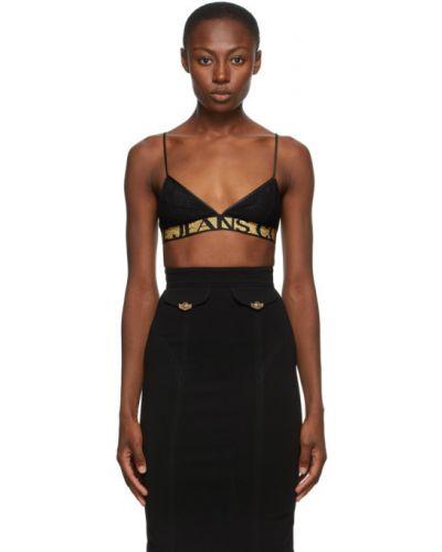 Хлопковый черный кружевной лиф Versace Jeans Couture
