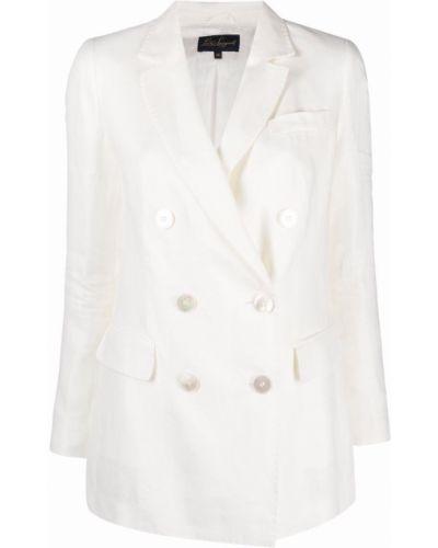 Белый удлиненный пиджак двубортный из вискозы Luisa Spagnoli