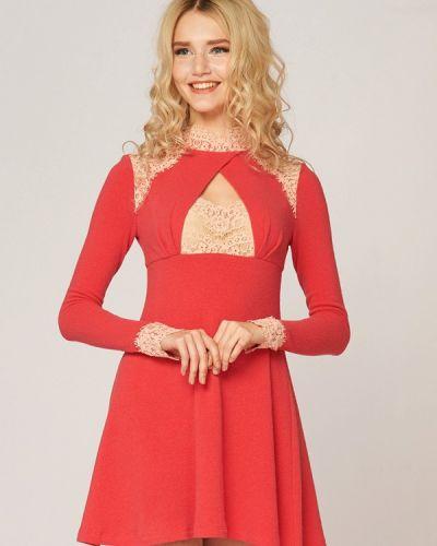 Платье коралловый вязаное Ано
