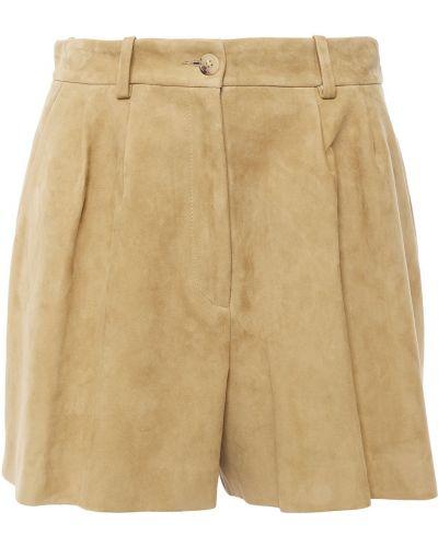 Замшевые желтые шорты с карманами Nili Lotan