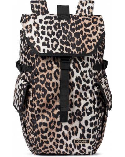 Brązowy plecak z printem Ganni