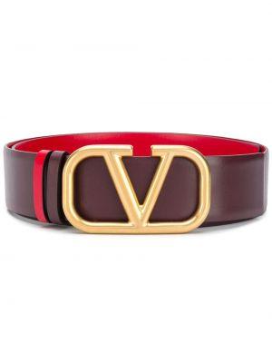 Czerwony pasek skórzany z paskiem Valentino