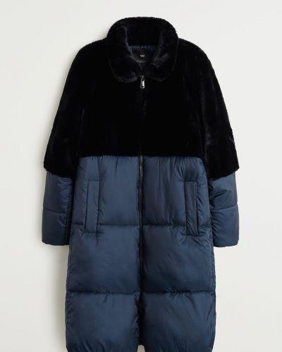 Прямая черная стеганая куртка из искусственного меха с поясом Mango